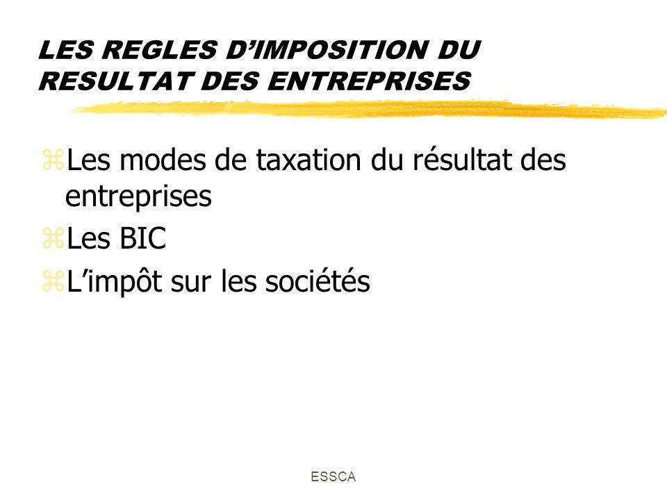 ESSCA LES REGLES DIMPOSITION DU RESULTAT DES ENTREPRISES zLes modes de taxation du résultat des entreprises zLes BIC zLimpôt sur les sociétés
