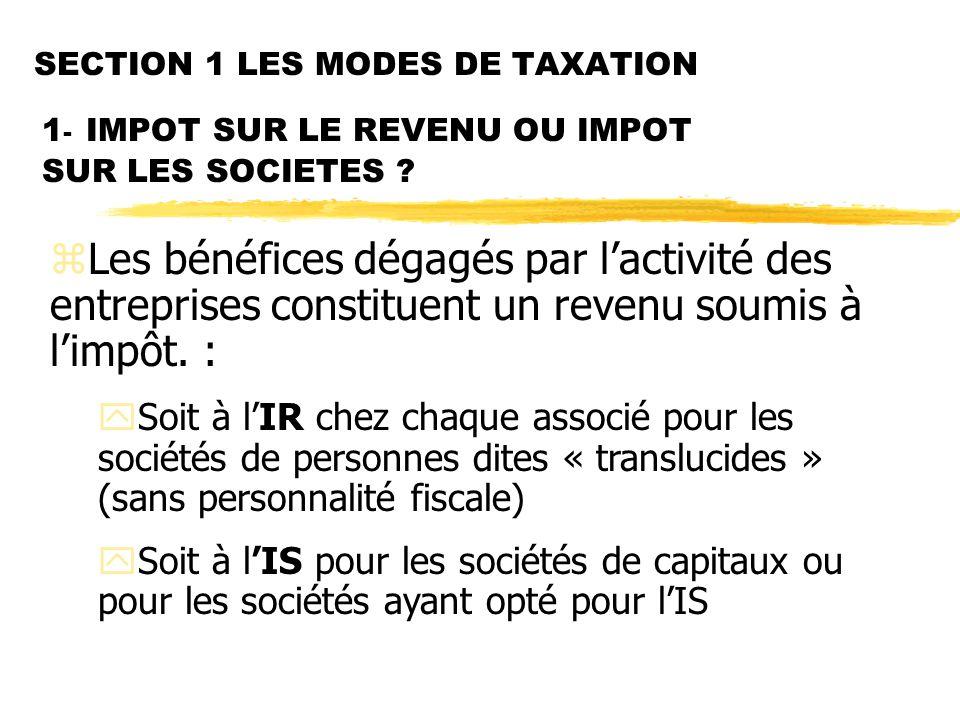 SECTION 1 LES MODES DE TAXATION 1 - IMPOT SUR LE REVENU OU IMPOT SUR LES SOCIETES .