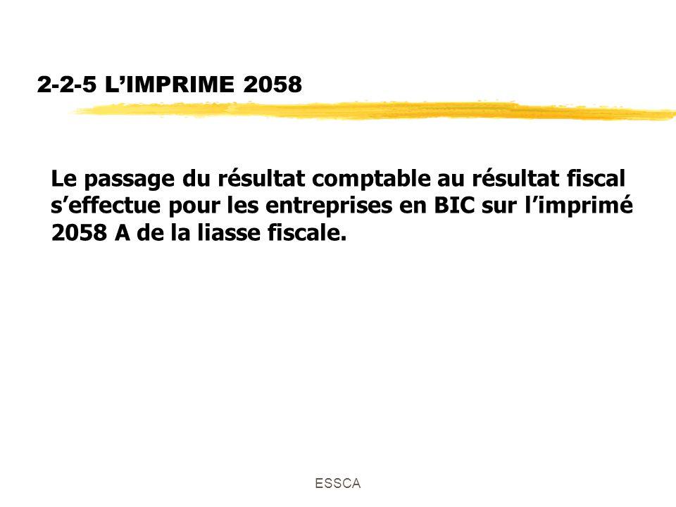 ESSCA 2-2-5 LIMPRIME 2058 Le passage du résultat comptable au résultat fiscal seffectue pour les entreprises en BIC sur limprimé 2058 A de la liasse fiscale.