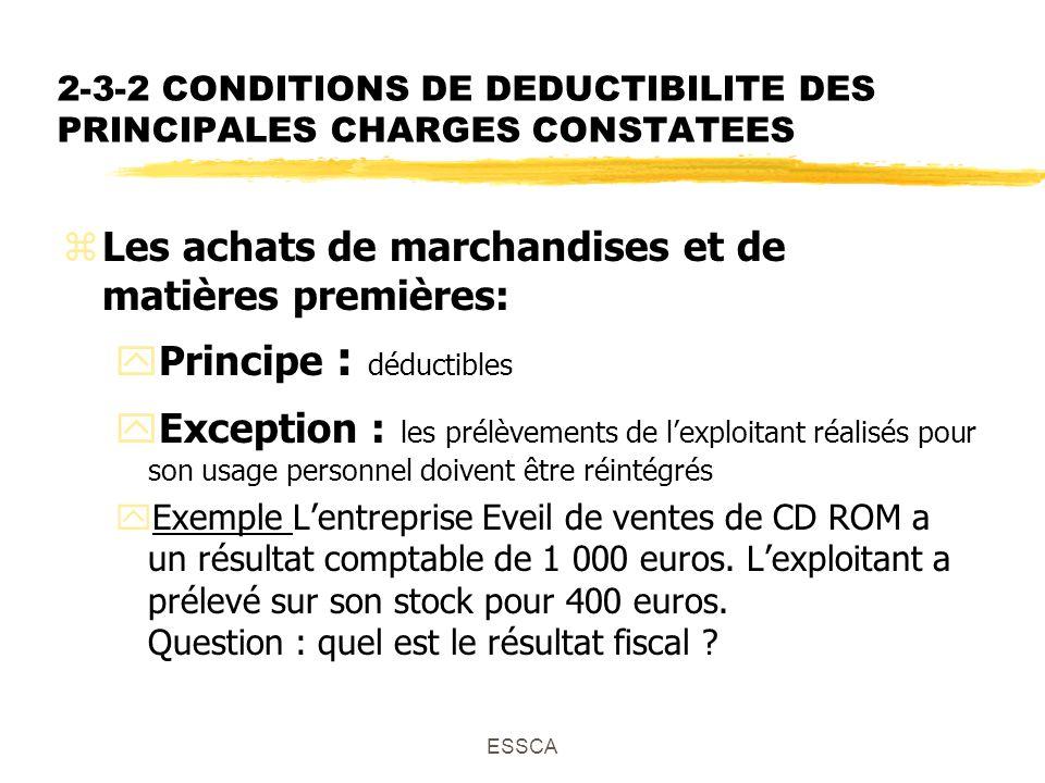 ESSCA 2-3-2 CONDITIONS DE DEDUCTIBILITE DES PRINCIPALES CHARGES CONSTATEES zLes achats de marchandises et de matières premières: yPrincipe : déductibles yException : les prélèvements de lexploitant réalisés pour son usage personnel doivent être réintégrés yExemple Lentreprise Eveil de ventes de CD ROM a un résultat comptable de 1 000 euros.