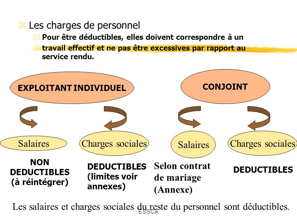 ESSCA zLes charges de personnel yPour être déductibles, elles doivent correspondre à un ytravail effectif et ne pas être excessives par rapport au service rendu.