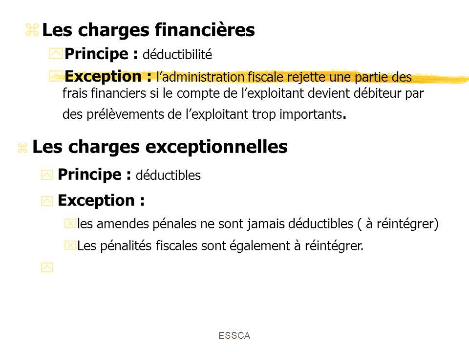 ESSCA zLes charges financières yPrincipe : déductibilité yException : ladministration fiscale rejette une partie des frais financiers si le compte de lexploitant devient débiteur par des prélèvements de lexploitant trop importants.