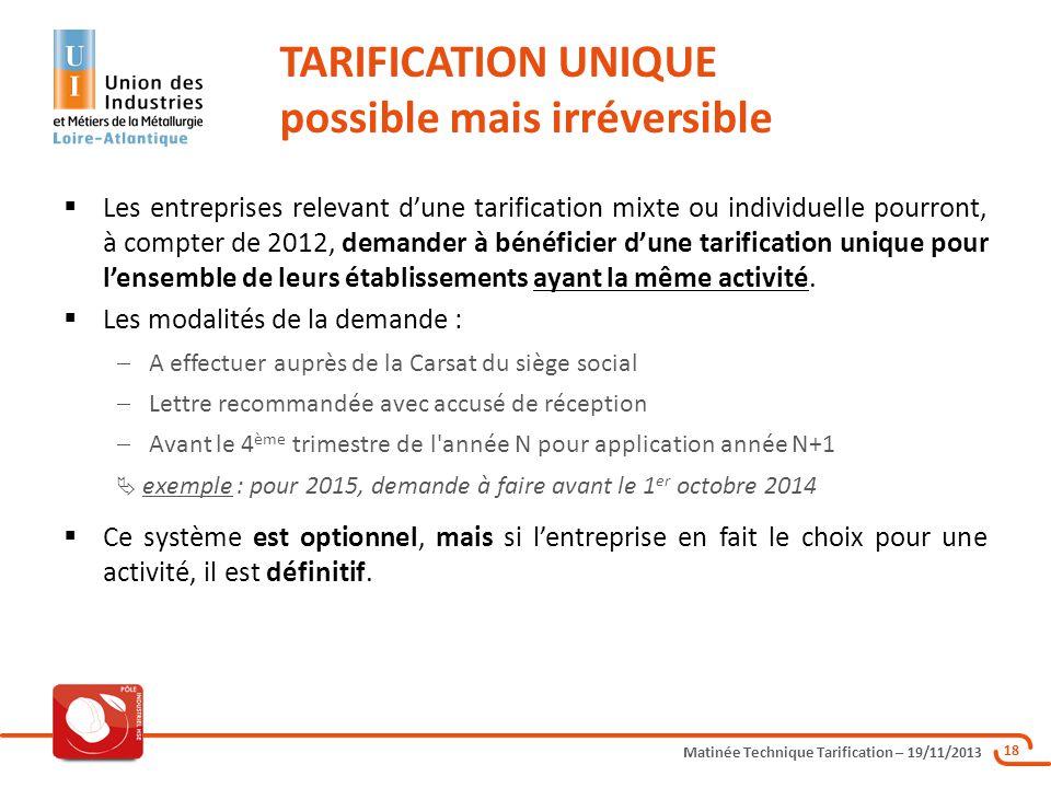 Matinée Technique Tarification – 19/11/2013 18 Les entreprises relevant dune tarification mixte ou individuelle pourront, à compter de 2012, demander