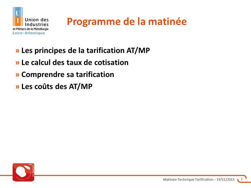 Matinée Technique Tarification – 19/11/2013 23 Les Majorations Forfaitaires - au 1 er Janvier 2013 : M1 - Trajet : 0,27 M2 - Charges générales : 51 % M3 - Solidarité : 0,59 M4 - Pénibilité : 0,00 Calcul LE TAUX INDIVIDUEL NET (Tn) Tx net = Tb + M1 + [ Tb + M1 ] x M2 + M3 + M4