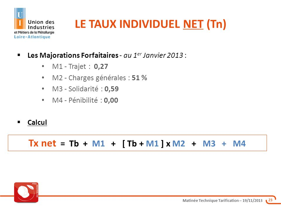 Matinée Technique Tarification – 19/11/2013 23 Les Majorations Forfaitaires - au 1 er Janvier 2013 : M1 - Trajet : 0,27 M2 - Charges générales : 51 %