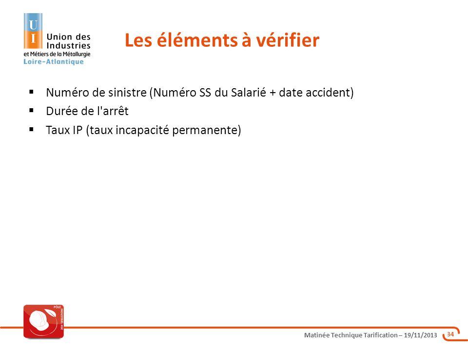 Matinée Technique Tarification – 19/11/2013 34 Numéro de sinistre (Numéro SS du Salarié + date accident) Durée de l'arrêt Taux IP (taux incapacité per
