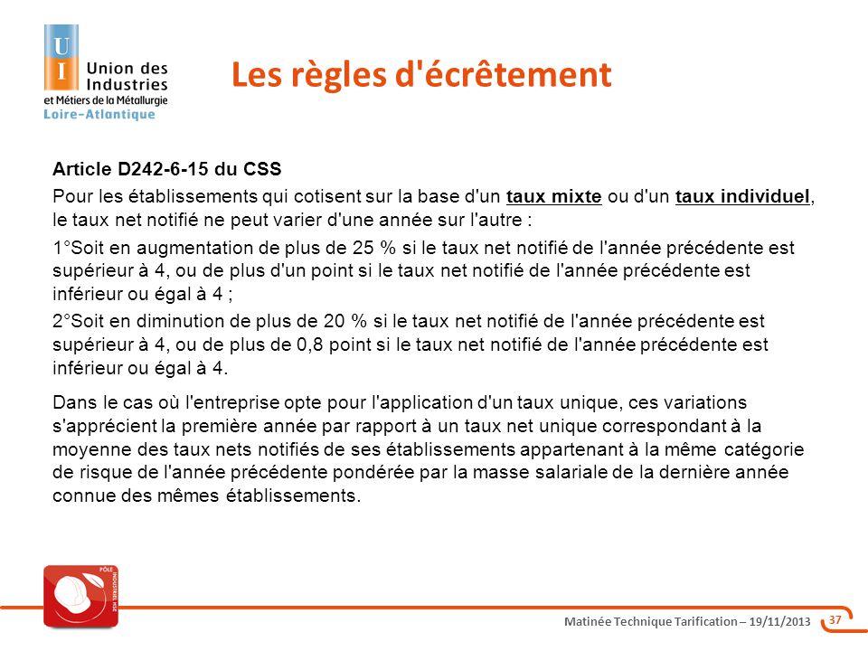 Matinée Technique Tarification – 19/11/2013 37 Article D242-6-15 du CSS Pour les établissements qui cotisent sur la base d'un taux mixte ou d'un taux