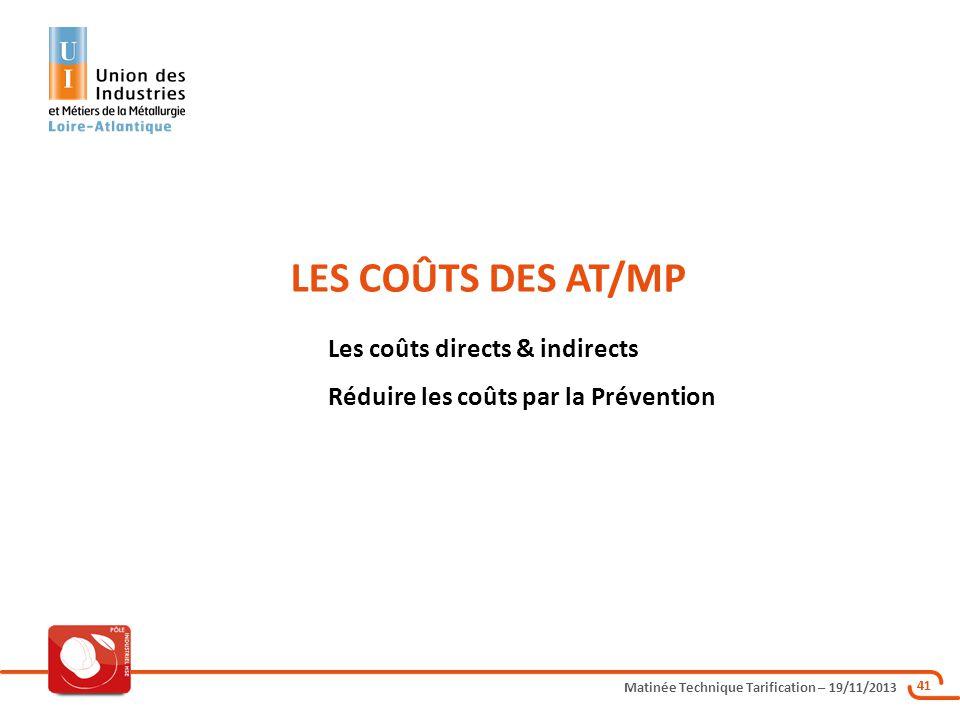 Matinée Technique Tarification – 19/11/2013 41 LES COÛTS DES AT/MP Les coûts directs & indirects Réduire les coûts par la Prévention