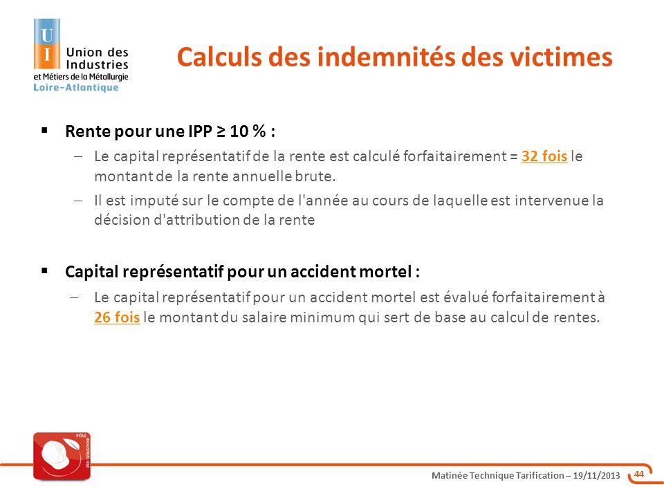 Matinée Technique Tarification – 19/11/2013 44 Rente pour une IPP 10 % : Le capital représentatif de la rente est calculé forfaitairement = 32 fois le