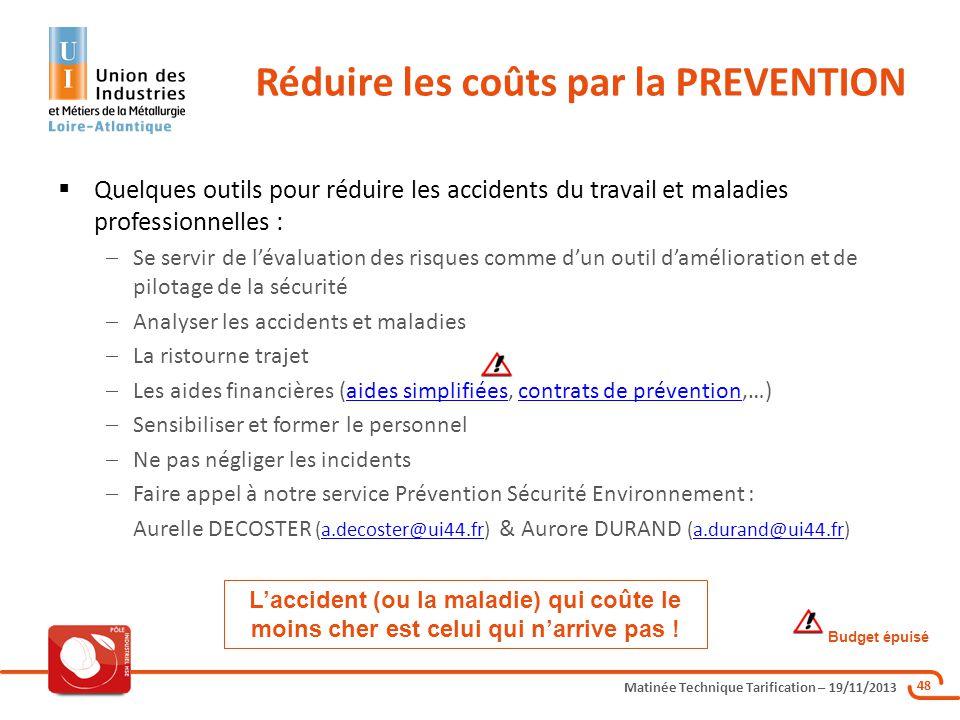 Matinée Technique Tarification – 19/11/2013 48 Quelques outils pour réduire les accidents du travail et maladies professionnelles : Se servir de léval