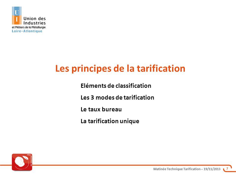 Matinée Technique Tarification – 19/11/2013 7 Les principes de la tarification Eléments de classification Les 3 modes de tarification Le taux bureau L