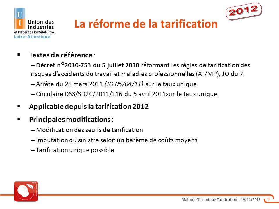 Matinée Technique Tarification – 19/11/2013 9 Textes de référence : – Décret n°2010-753 du 5 juillet 2010 réformant les règles de tarification des ris