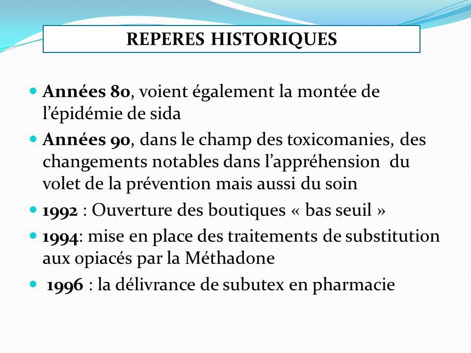 Années 80, voient également la montée de lépidémie de sida Années 90, dans le champ des toxicomanies, des changements notables dans lappréhension du volet de la prévention mais aussi du soin 1992 : Ouverture des boutiques « bas seuil » 1994: mise en place des traitements de substitution aux opiacés par la Méthadone 1996 : la délivrance de subutex en pharmacie REPERES HISTORIQUES