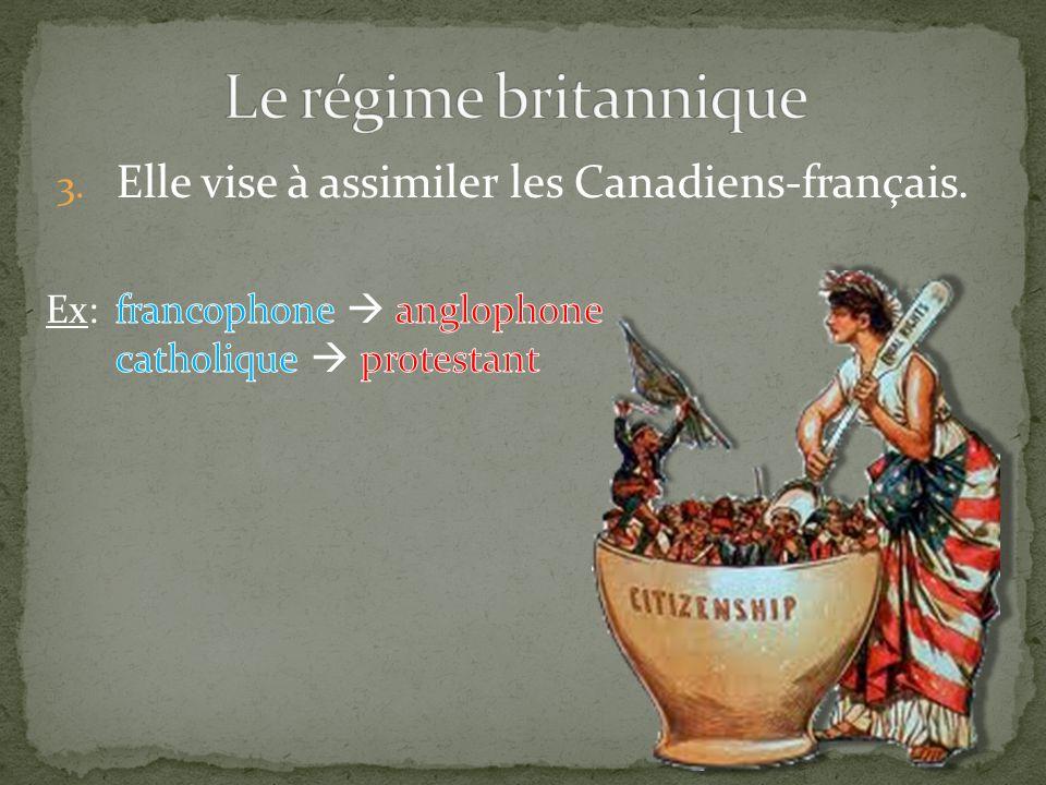 3. Elle vise à assimiler les Canadiens-français. Ex: