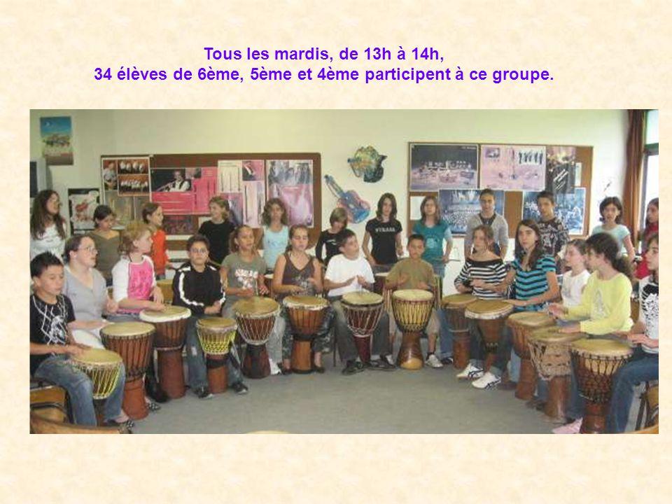 Tous les mardis, de 13h à 14h, 34 élèves de 6ème, 5ème et 4ème participent à ce groupe.