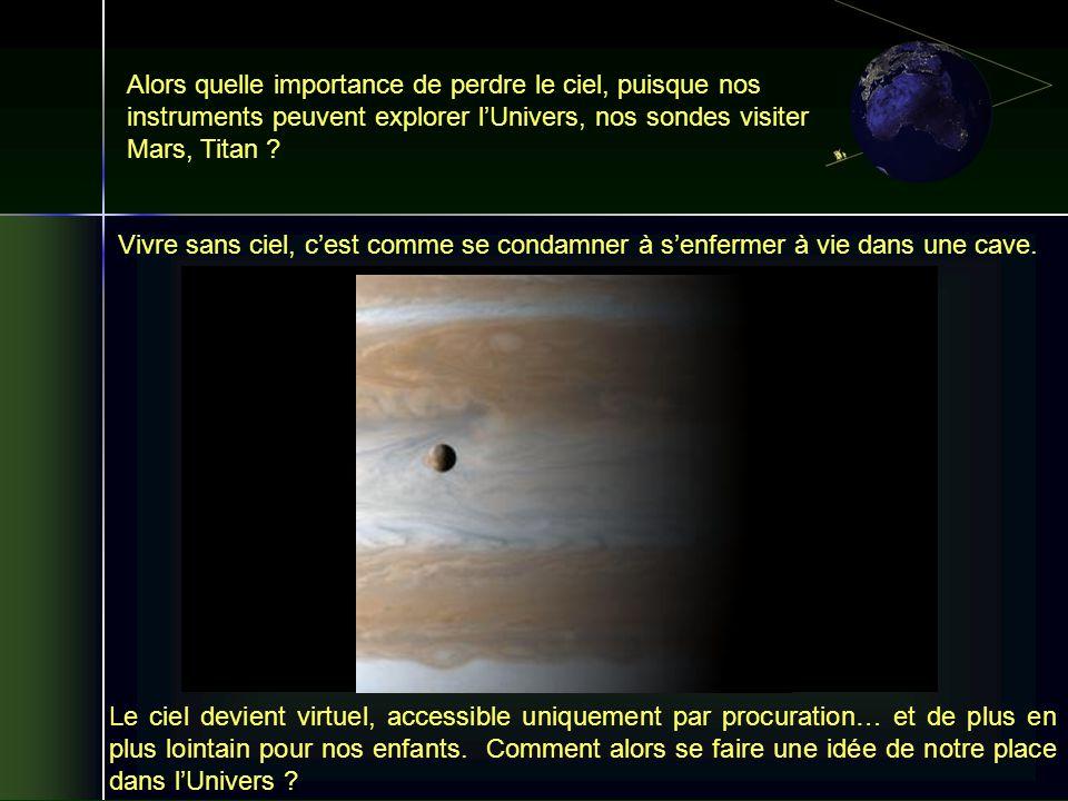 Alors quelle importance de perdre le ciel, puisque nos instruments peuvent explorer lUnivers, nos sondes visiter Mars, Titan ? Le ciel devient virtuel