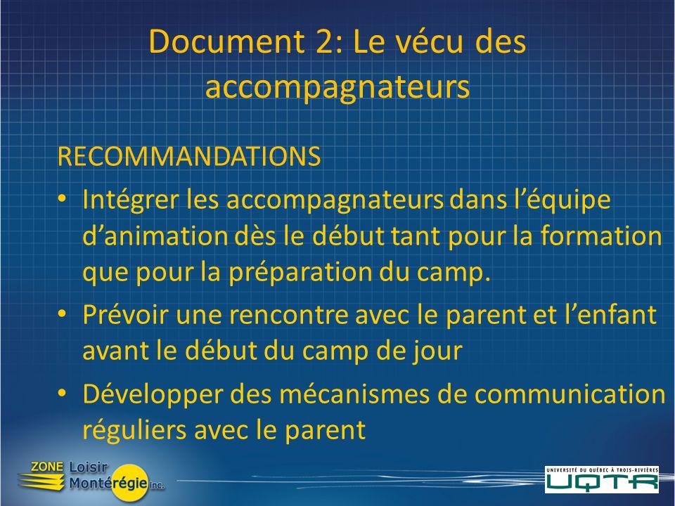 Document 2: Le vécu des accompagnateurs RECOMMANDATIONS Intégrer les accompagnateurs dans léquipe danimation dès le début tant pour la formation que pour la préparation du camp.