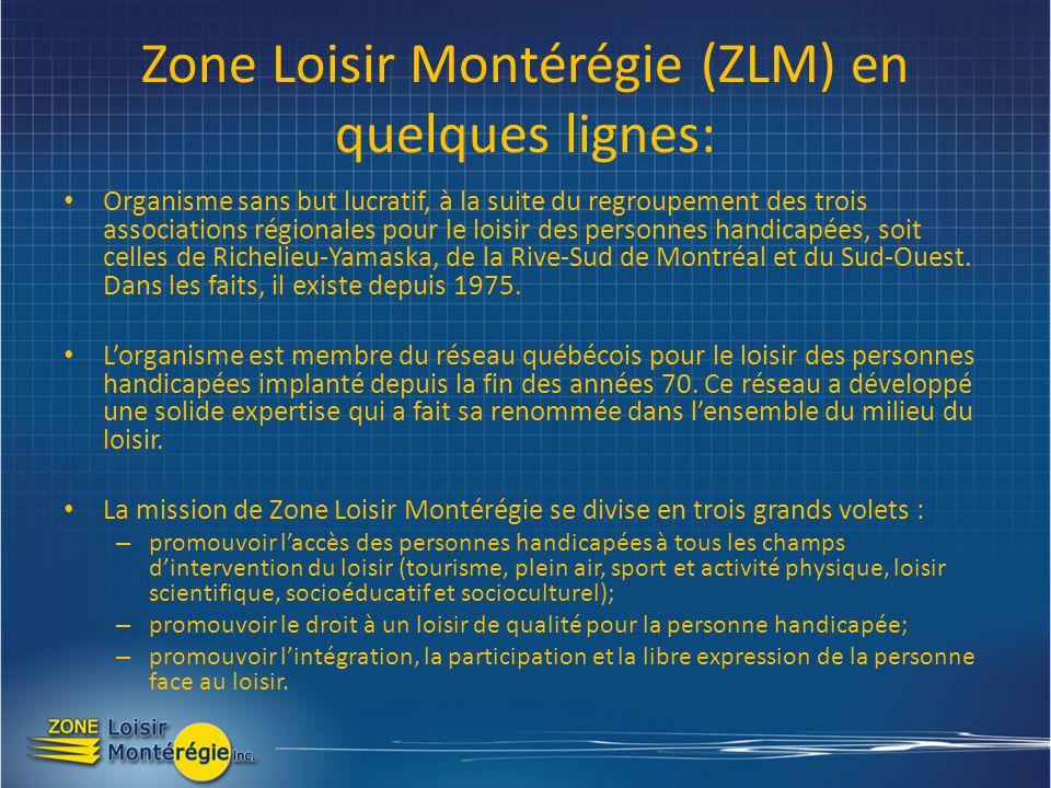 Zone Loisir Montérégie (ZLM) en quelques lignes: Organisme sans but lucratif, à la suite du regroupement des trois associations régionales pour le loisir des personnes handicapées, soit celles de Richelieu-Yamaska, de la Rive-Sud de Montréal et du Sud-Ouest.