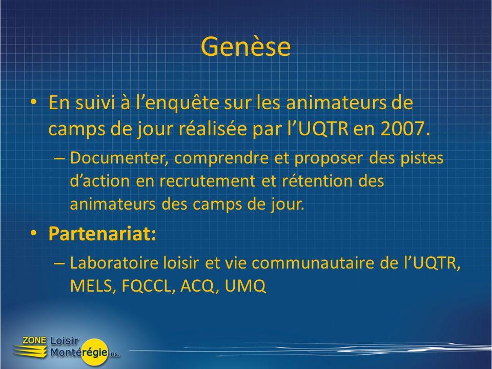 Genèse En suivi à lenquête sur les animateurs de camps de jour réalisée par lUQTR en 2007.