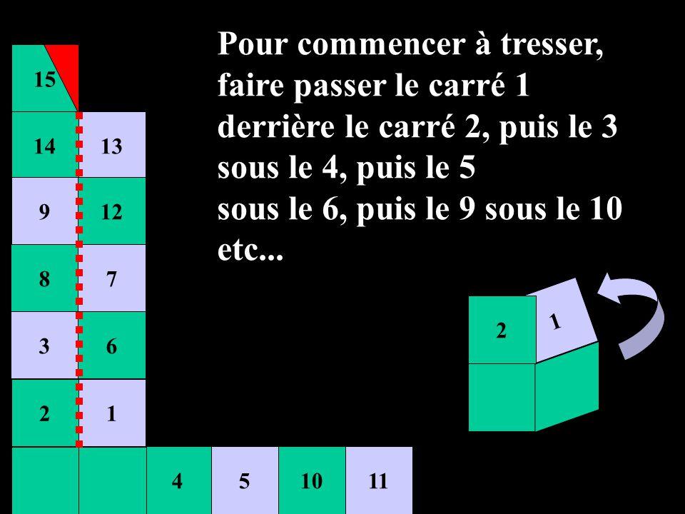 15 451011 14 9 8 3 2 13 12 7 6 1 21 1 2 Pour commencer à tresser, faire passer le carré 1 derrière le carré 2, puis le 3 sous le 4, puis le 5 sous le
