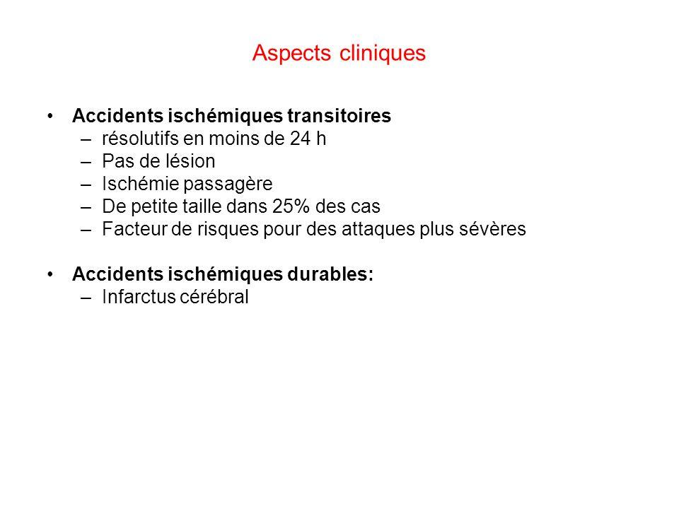 Accidents ischémiques transitoires –résolutifs en moins de 24 h –Pas de lésion –Ischémie passagère –De petite taille dans 25% des cas –Facteur de risq