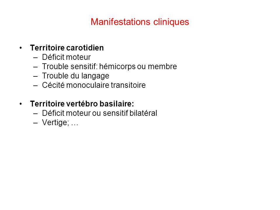 Manifestations cliniques Territoire carotidien –Déficit moteur –Trouble sensitif: hémicorps ou membre –Trouble du langage –Cécité monoculaire transito