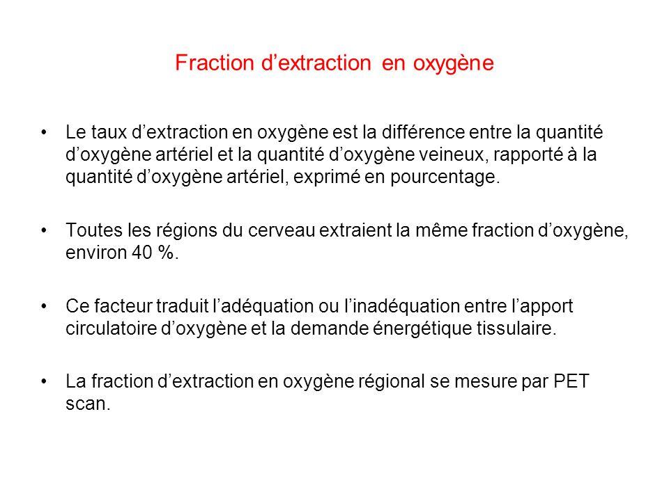 Fraction dextraction en oxygène Le taux dextraction en oxygène est la différence entre la quantité doxygène artériel et la quantité doxygène veineux,