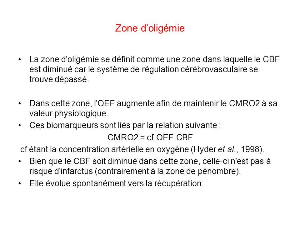 Zone doligémie La zone d'oligémie se définit comme une zone dans laquelle le CBF est diminué car le système de régulation cérébrovasculaire se trouve