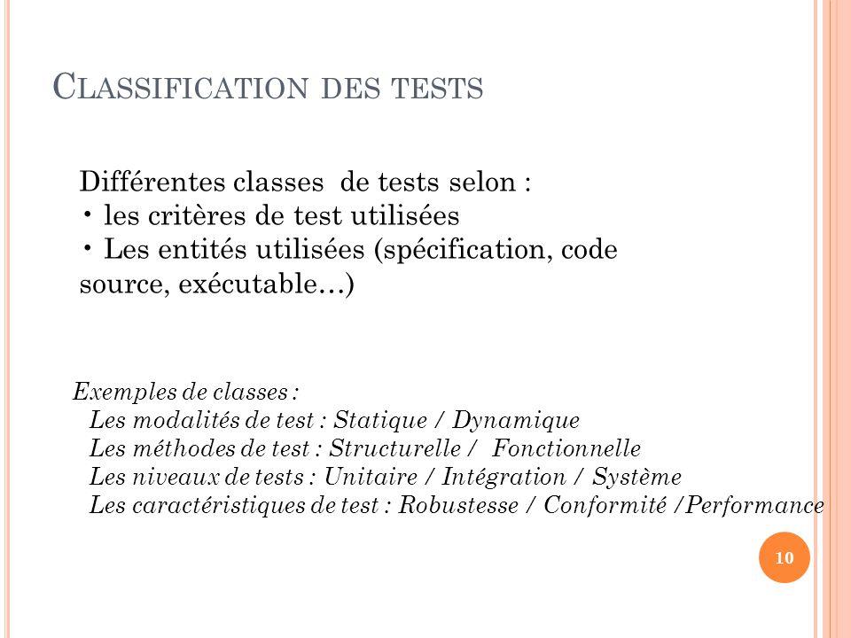 C LASSIFICATION DES TESTS Différentes classes de tests selon : les critères de test utilisées Les entités utilisées (spécification, code source, exécutable…) Exemples de classes : Les modalités de test : Statique / Dynamique Les méthodes de test : Structurelle / Fonctionnelle Les niveaux de tests : Unitaire / Intégration / Système Les caractéristiques de test : Robustesse / Conformité /Performance 10