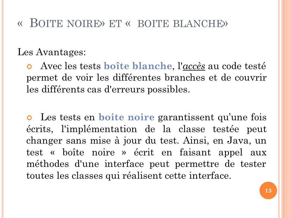 Les Avantages: Avec les tests boîte blanche, l accès au code testé permet de voir les différentes branches et de couvrir les différents cas d erreurs possibles.