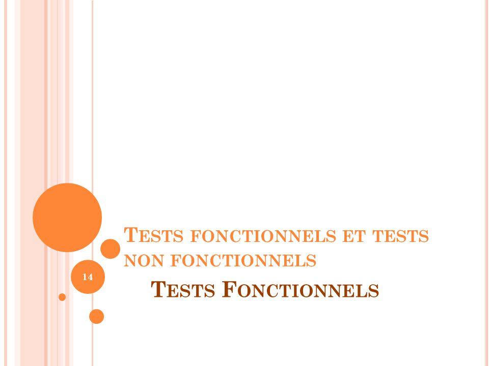 T ESTS FONCTIONNELS ET TESTS NON FONCTIONNELS 14 T ESTS F ONCTIONNELS