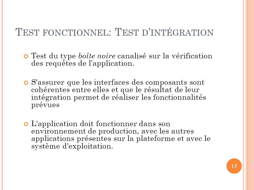 Test du type boîte noire canalisé sur la vérification des requêtes de lapplication. S'assurer que les interfaces des composants sont cohérentes entre