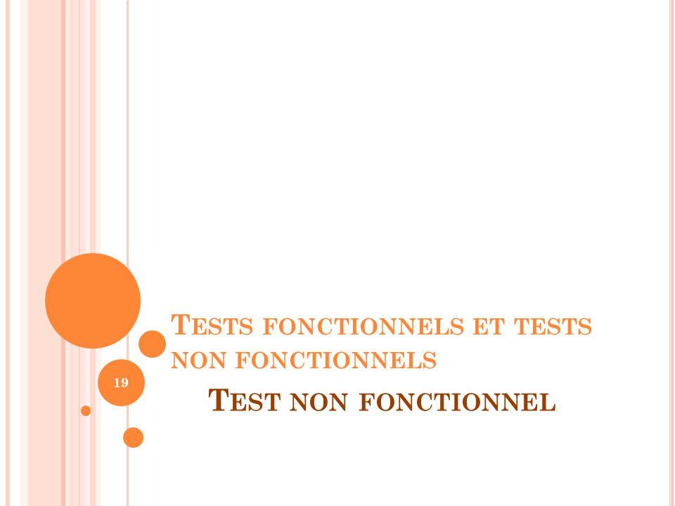 T ESTS FONCTIONNELS ET TESTS NON FONCTIONNELS 19 T EST NON FONCTIONNEL