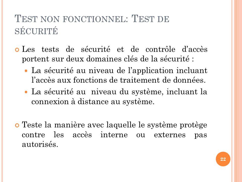 Les tests de sécurité et de contrôle daccès portent sur deux domaines clés de la sécurité : La sécurité au niveau de lapplication incluant laccès aux fonctions de traitement de données.