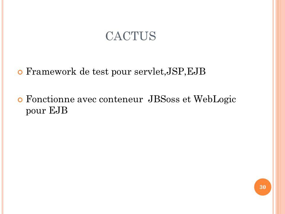 CACTUS Framework de test pour servlet,JSP,EJB Fonctionne avec conteneur JBSoss et WebLogic pour EJB 30
