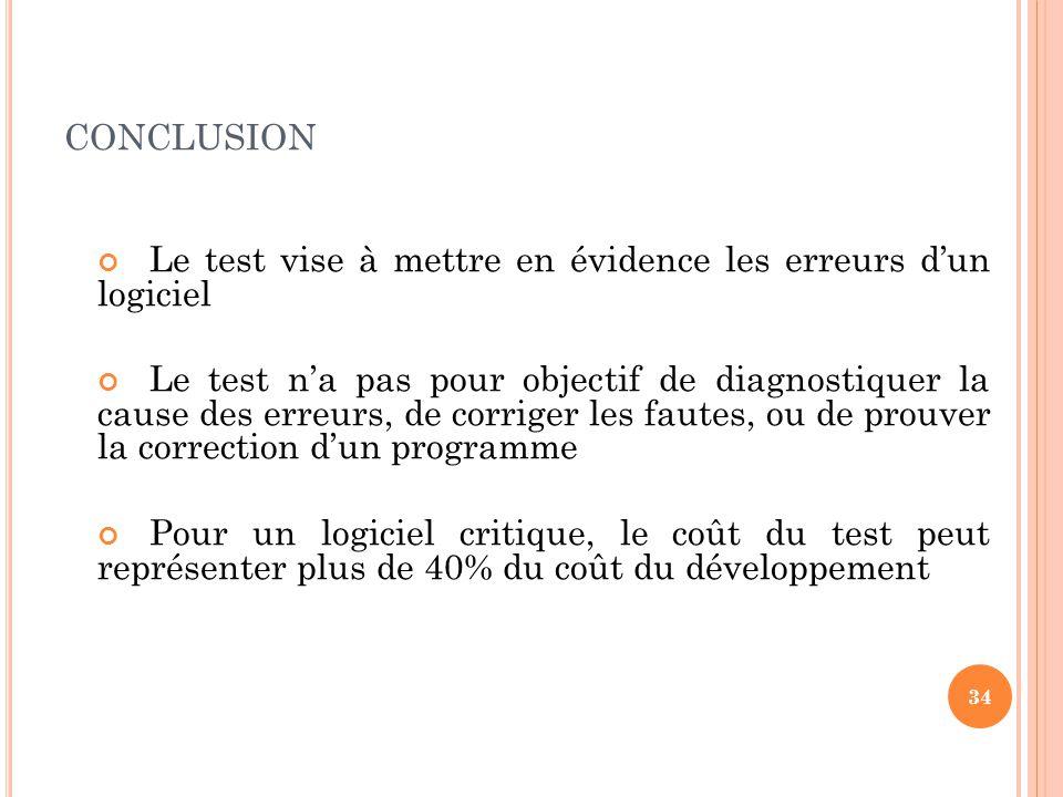 CONCLUSION Le test vise à mettre en évidence les erreurs dun logiciel Le test na pas pour objectif de diagnostiquer la cause des erreurs, de corriger les fautes, ou de prouver la correction dun programme Pour un logiciel critique, le coût du test peut représenter plus de 40% du coût du développement 34