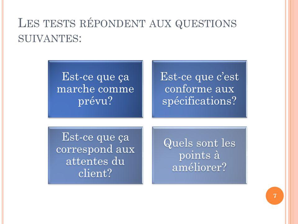 L ES TESTS RÉPONDENT AUX QUESTIONS SUIVANTES : Est-ce que ça marche comme prévu? Est-ce que cest conforme aux spécifications? Est-ce que ça correspond