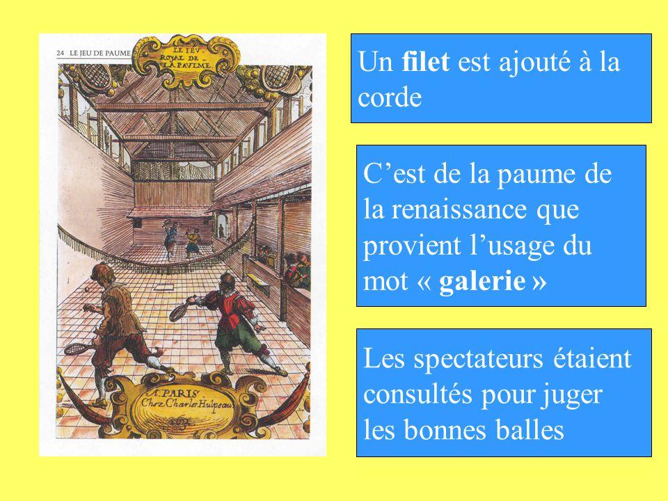Cest de la paume de la renaissance que provient lusage du mot « galerie » Les spectateurs étaient consultés pour juger les bonnes balles Un filet est