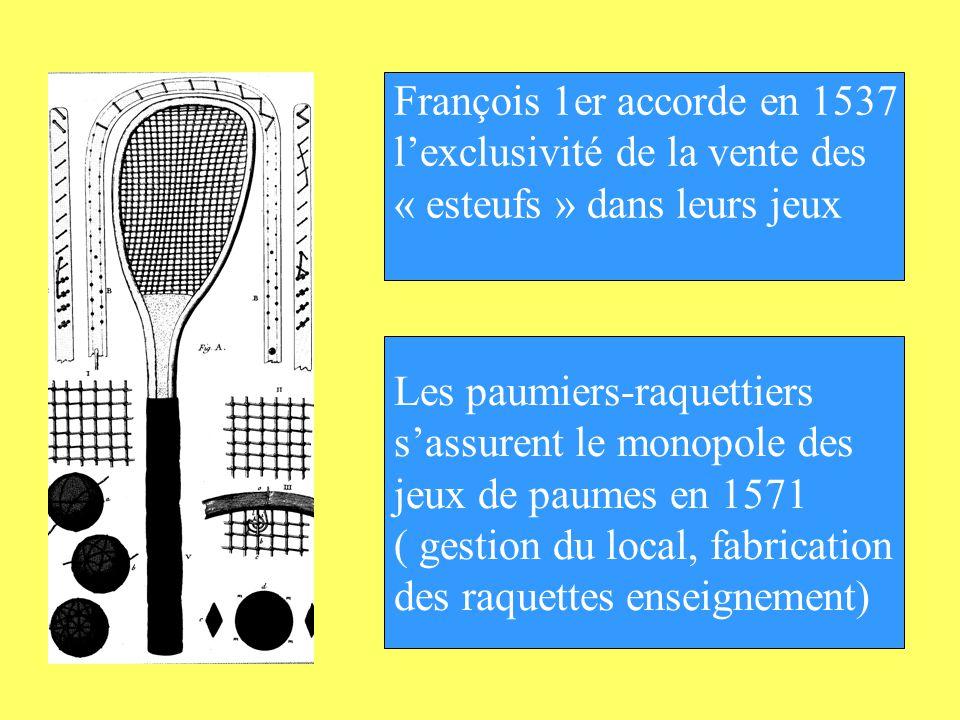 François 1er accorde en 1537 lexclusivité de la vente des « esteufs » dans leurs jeux Les paumiers-raquettiers sassurent le monopole des jeux de paume