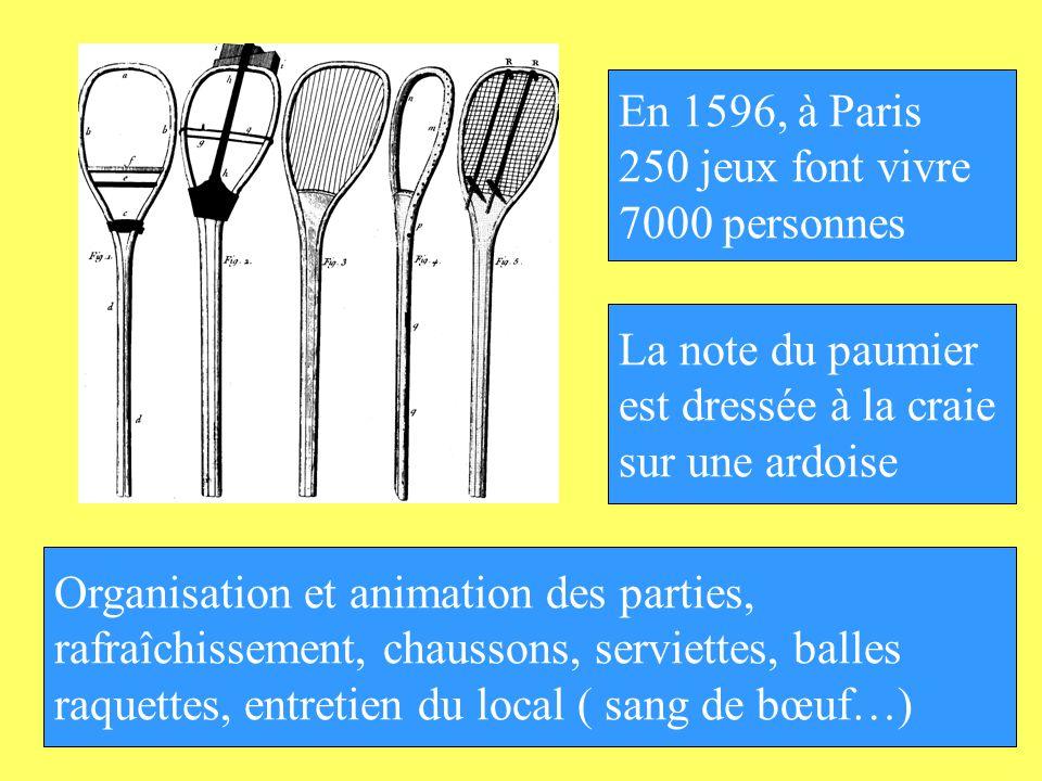 En 1596, à Paris 250 jeux font vivre 7000 personnes Organisation et animation des parties, rafraîchissement, chaussons, serviettes, balles raquettes,
