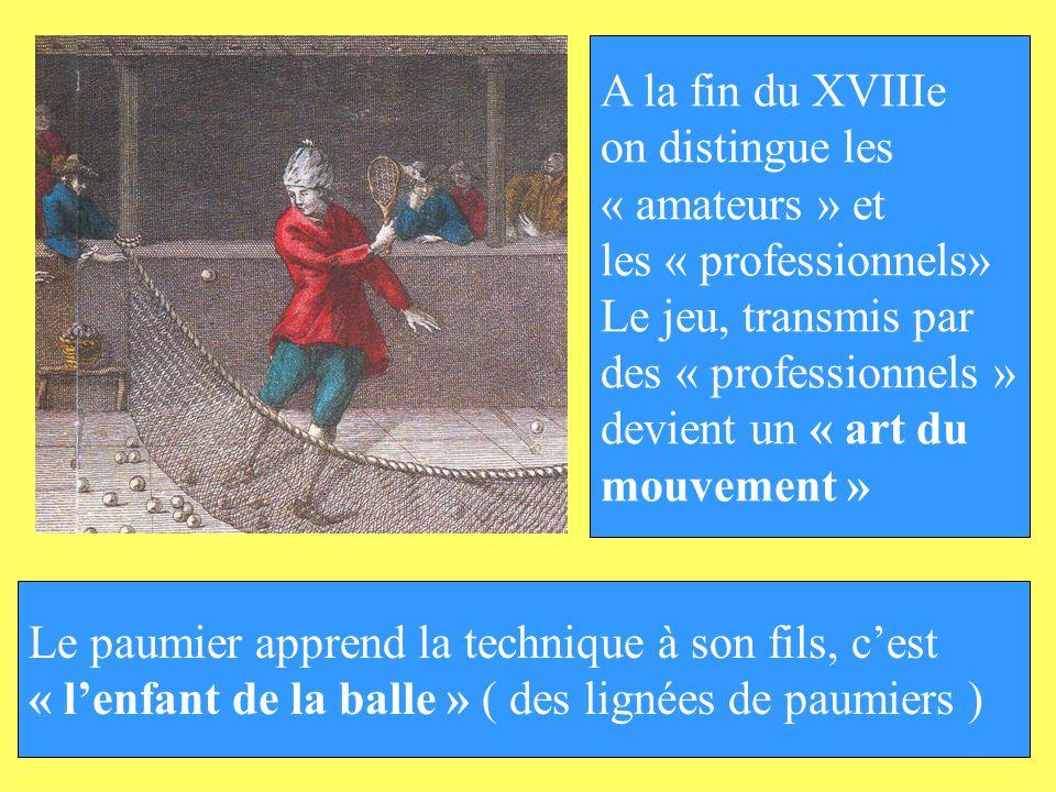 A la fin du XVIIIe on distingue les « amateurs » et les « professionnels» Le jeu, transmis par des « professionnels » devient un « art du mouvement »
