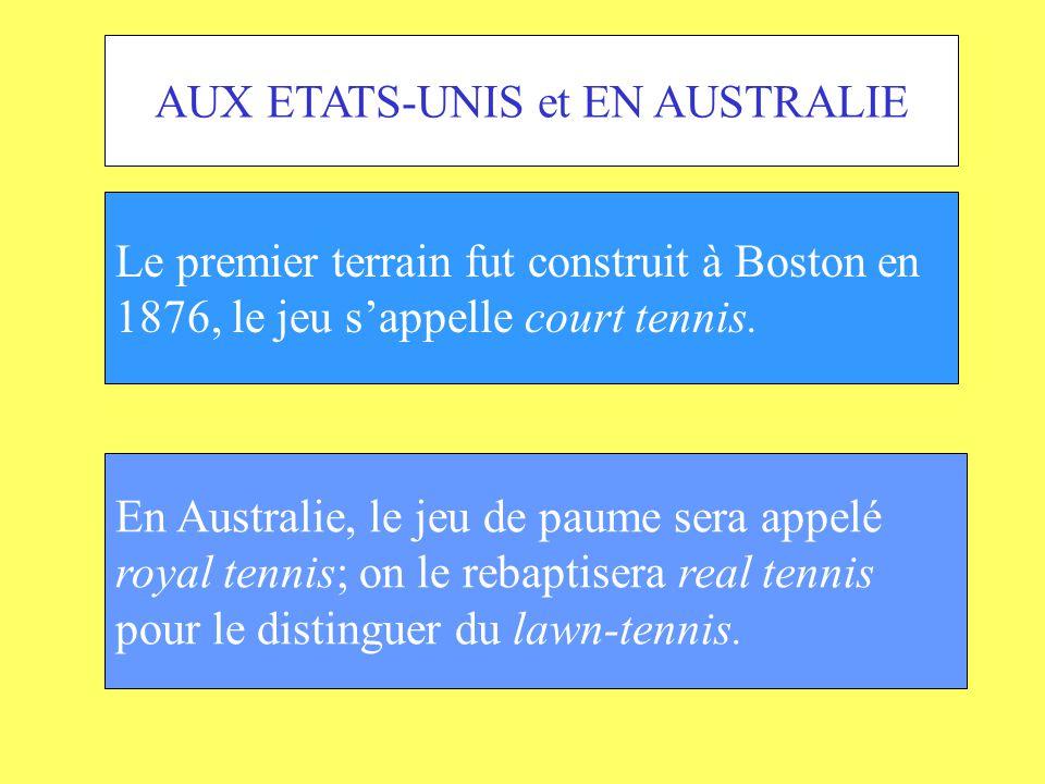 AUX ETATS-UNIS et EN AUSTRALIE Le premier terrain fut construit à Boston en 1876, le jeu sappelle court tennis. En Australie, le jeu de paume sera app