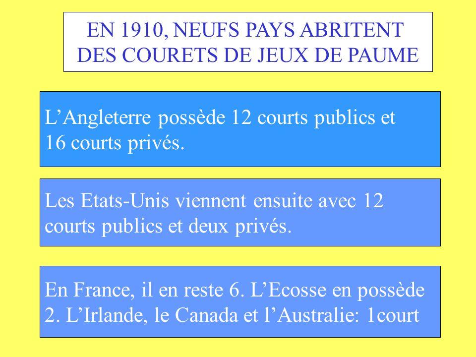 EN 1910, NEUFS PAYS ABRITENT DES COURETS DE JEUX DE PAUME LAngleterre possède 12 courts publics et 16 courts privés. Les Etats-Unis viennent ensuite a