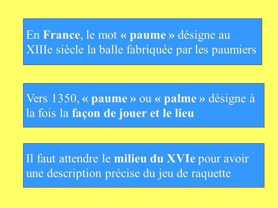 En France, le mot « paume » désigne au XIIIe siècle la balle fabriquée par les paumiers Vers 1350, « paume » ou « palme » désigne à la fois la façon d