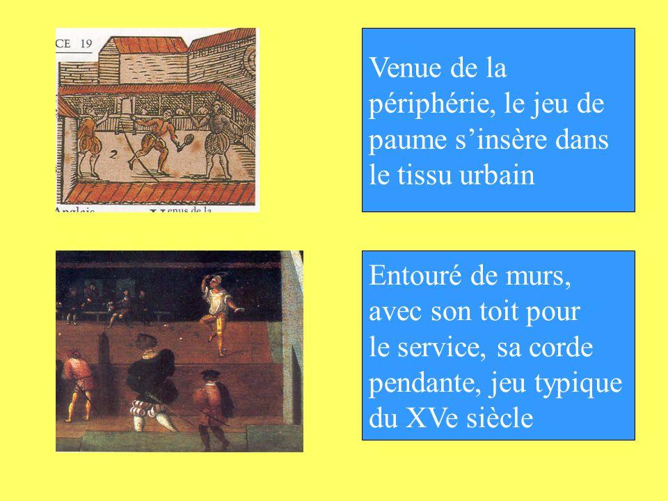 Entouré de murs, avec son toit pour le service, sa corde pendante, jeu typique du XVe siècle Venue de la périphérie, le jeu de paume sinsère dans le t