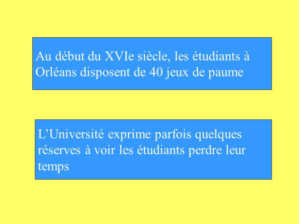 Au début du XVIe siècle, les étudiants à Orléans disposent de 40 jeux de paume LUniversité exprime parfois quelques réserves à voir les étudiants perd