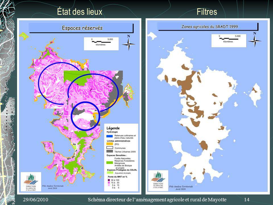 29/06/2010 Schéma directeur de laménagement agricole et rural de Mayotte 14 État des lieuxFiltres