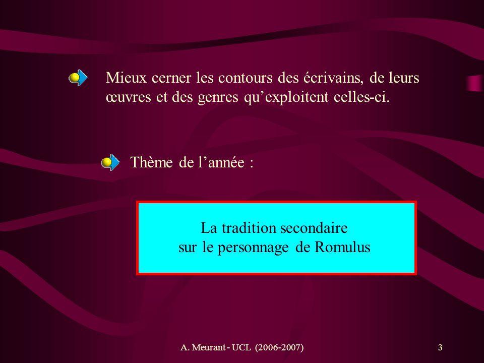 A. Meurant - UCL (2006-2007)3 Mieux cerner les contours des écrivains, de leurs œuvres et des genres quexploitent celles-ci. Thème de lannée : La trad