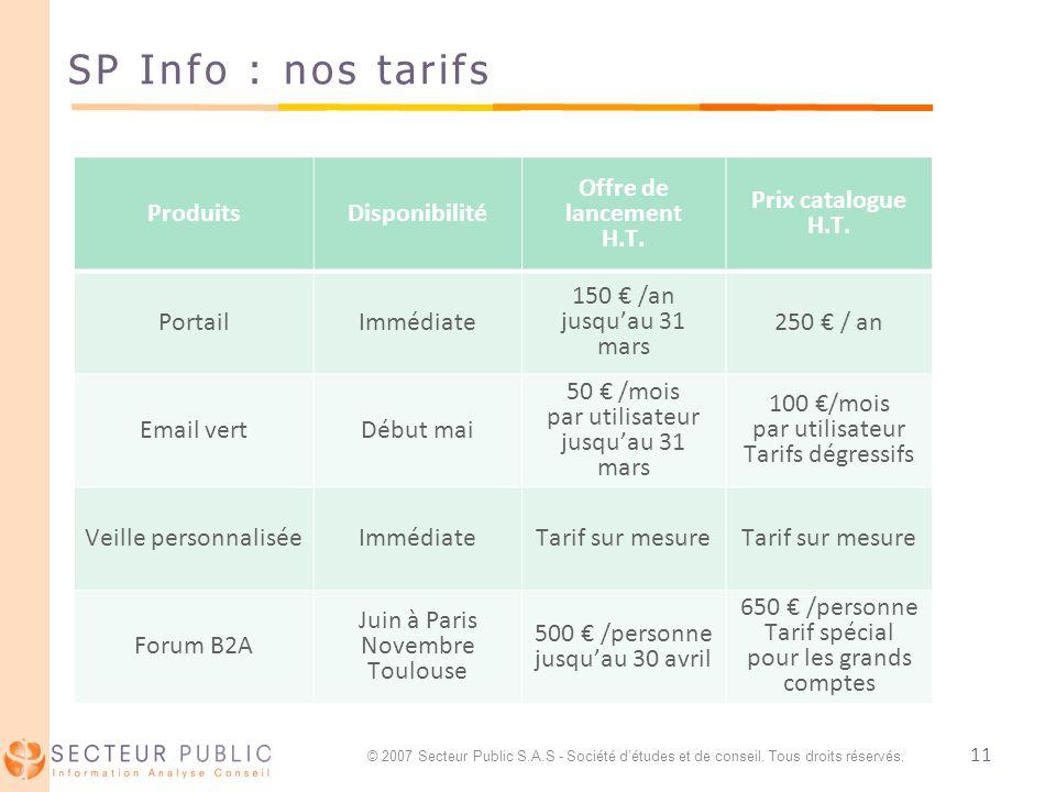 11 SP Info : nos tarifs ProduitsDisponibilité Offre de lancement H.T. Prix catalogue H.T. PortailImmédiate 150 /an jusquau 31 mars 250 / an Email vert