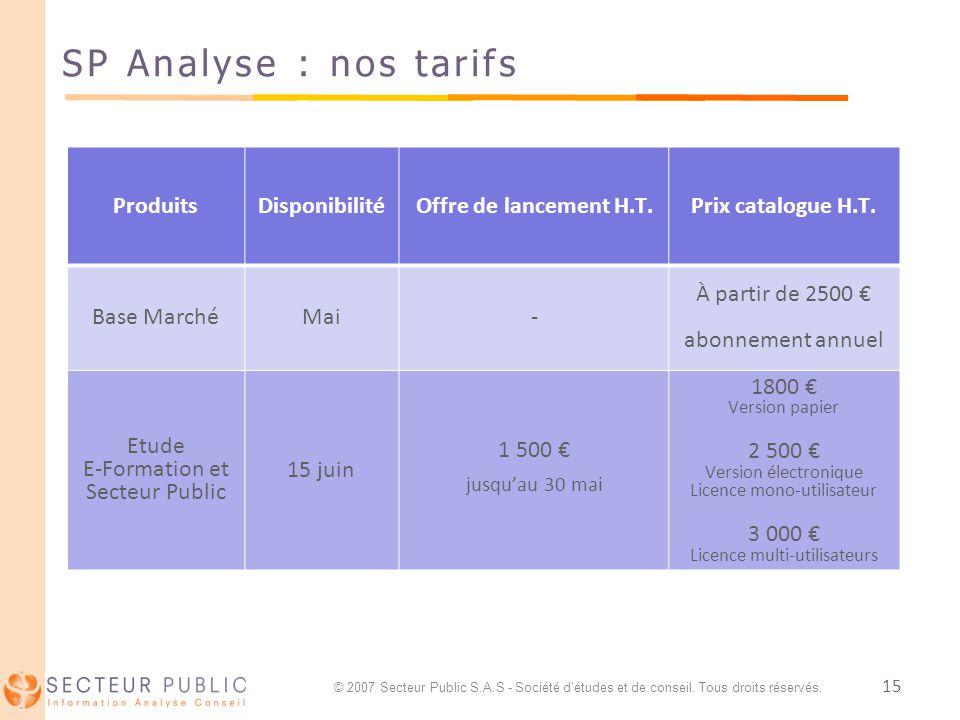 15 SP Analyse : nos tarifs ProduitsDisponibilitéOffre de lancement H.T.Prix catalogue H.T. Base MarchéMai- À partir de 2500 abonnement annuel Etude E-